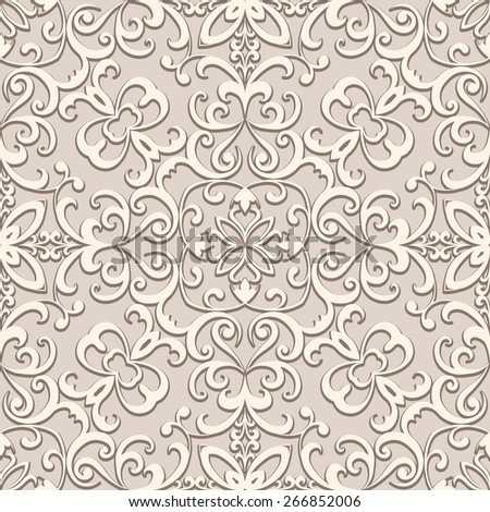 Beige background, vintage ornament, vector seamless pattern in neutral color - stock vector