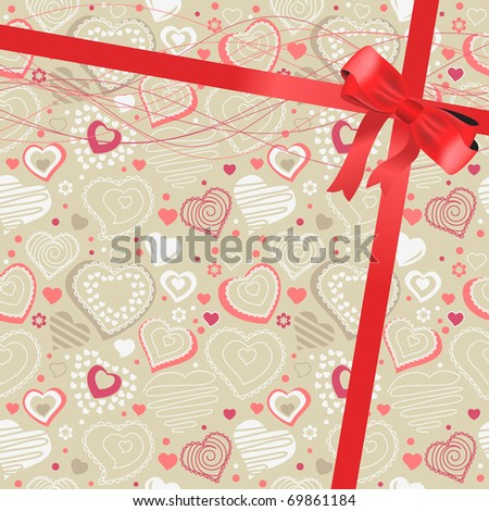Beige background with hearts and silk red bow - stock vector