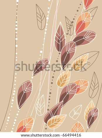 Beige background with stylized contour branches and leaves - stock vector