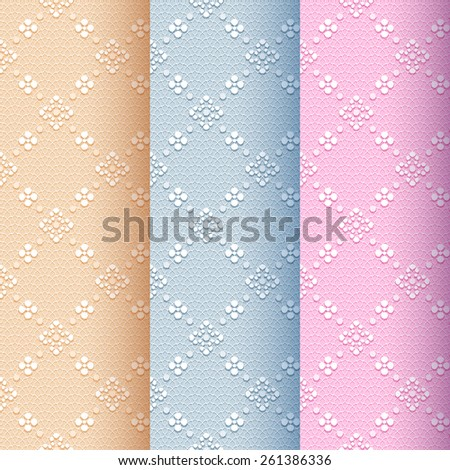 Beige, blue and pink vintage seamless classic pattern with floral and dotted ornament on a delicate lace background - stock vector