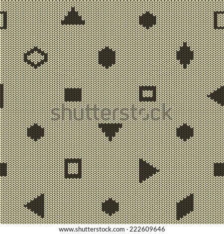 Beige brown knitted seamless pattern with geometric shapes - stock vector
