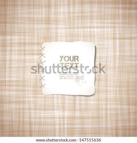 beige canvas texture, vector background - stock vector