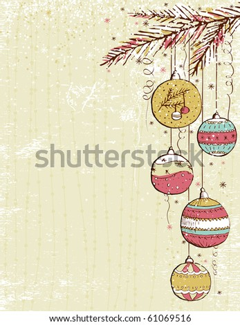 beige christmas background with christmas balls,  vector illustration - stock vector