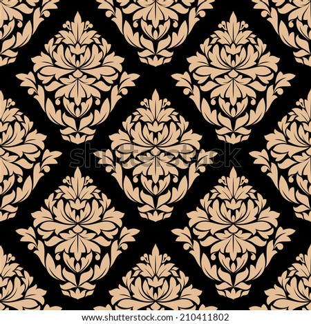Beige colored  decorative foliate and floral arabesque seamless pattern in damask style motifs. isolated on dark brown colored background in square format