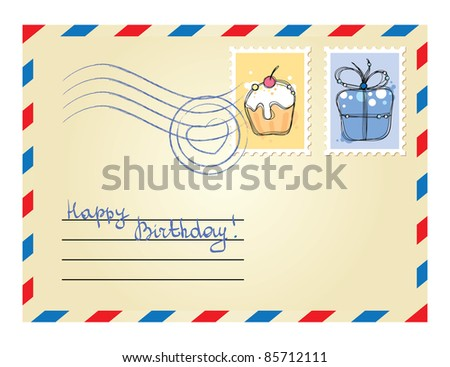 beige envelope with postage stamps on white background - stock vector