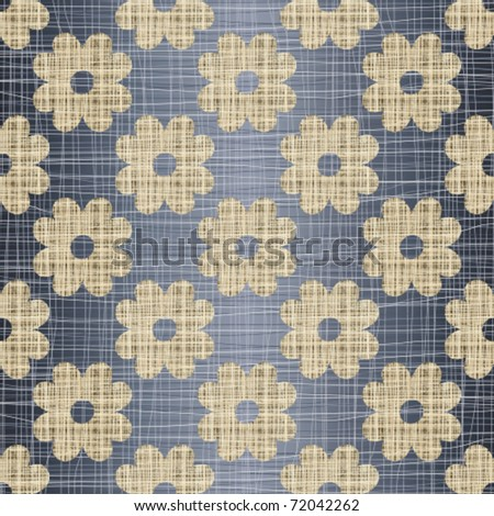 Beige flowers on a jeans background - stock vector
