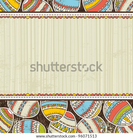 beige grunge background with easter eggs, vector - stock vector