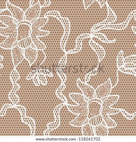 Beige lace vector fabric seamless  pattern with orchids - stock vector