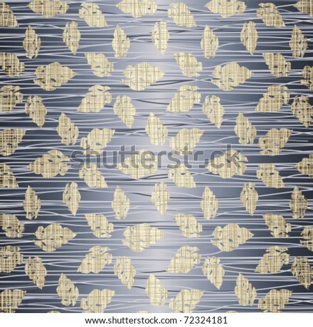Beige leaves on a jeans background - stock vector