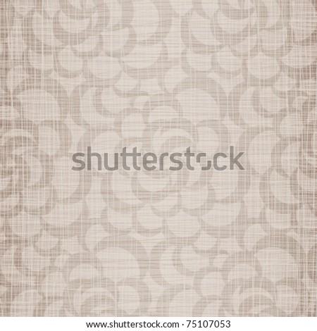 Beige natural flax with openwork drawing - stock vector