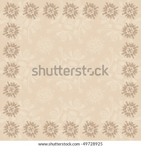 Beige Square Frame Three - in a Series of Three - stock vector