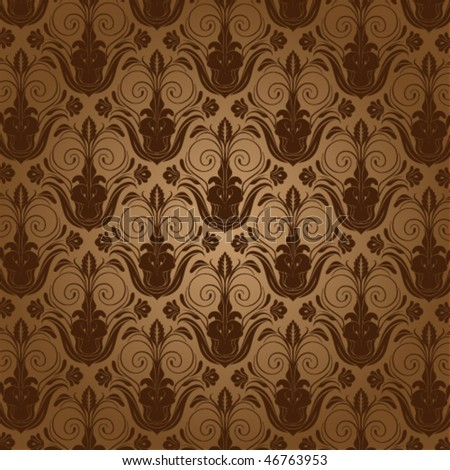 Beige wallpaper with the silhouette of flowers. Vector illustration - stock vector