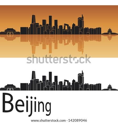 Beijing skyline in orange background in editable vector file - stock vector