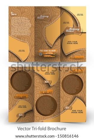 Bekery Shop Tri-Fold Mock up & Brochure Design - stock vector