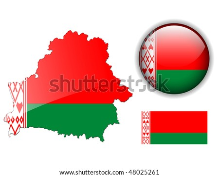 Belarus  flag, map and glossy button, vector illustration set. - stock vector