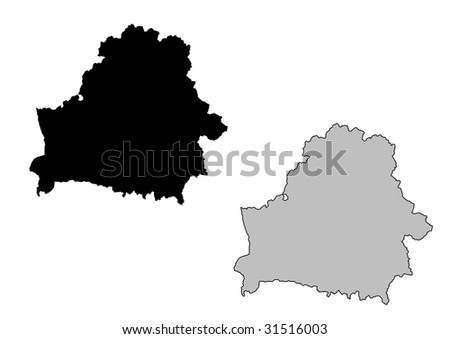 Belarus map. Black and white. Mercator projection. - stock vector