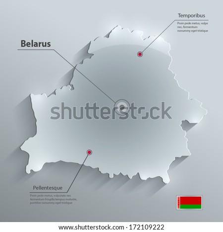Belarus map flag glass card paper 3D vector - stock vector