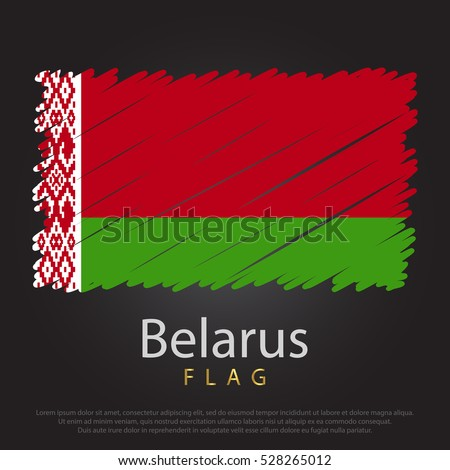 Belarus scribbled flag. hand drawn lines in Vector Format on Gray Background. Vector illustration eps 10.