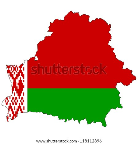 Belarus vector map with the flag inside. - stock vector