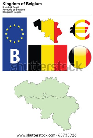 Belgium collection including flag, plate, map (administrative division), symbol, currency unit & glossy button - stock vector