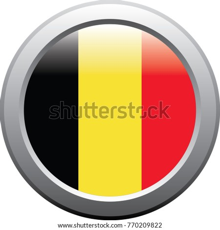 Belgium flag emblem button metal sticker