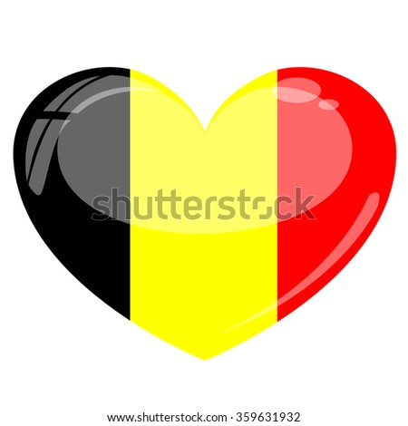Belgium Flag Heart Vector Silhouette - stock vector