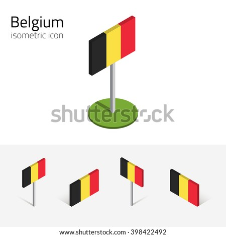 Belgium flag, vector set of isometric flat icons, 3D style, different views. 100% editable design elements for banner, website, presentation, infographic, poster, card, collage. Eps 10 - stock vector