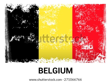 Belgium grunge flag isolated vector in official colors and Proportion Correctly. country's name label in bottom - stock vector