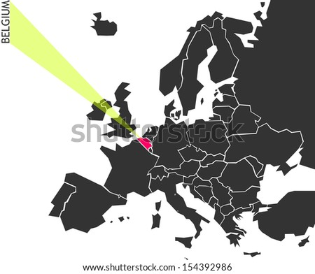 Belgium - political map of Europe with marked state. Marker looks like ray of light. (vector illustration) - stock vector