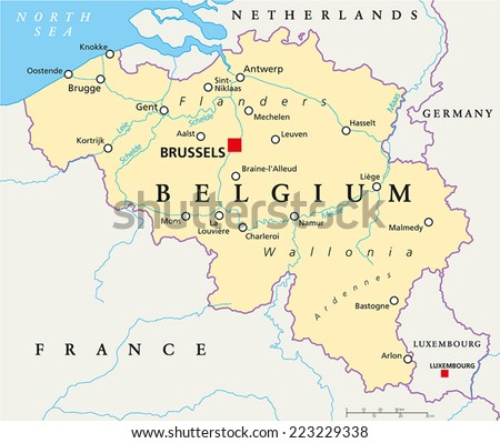 Belgium Political Map Capital Brussels National Stock Photo Photo