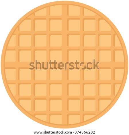 Belgium round waffles, pastel colors on white background. Vector