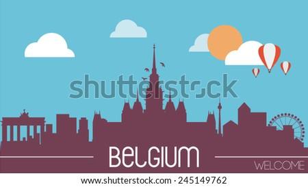 Belgium skyline silhouette flat design vector illustration - stock vector