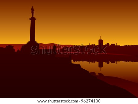Belgrade city panorama - vector background - stock vector