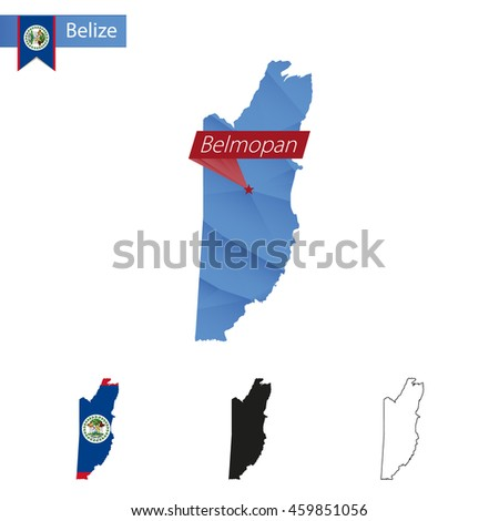 Belize blue Low Poly map with capital Belmopan, versions with flag, black and outline. Vector Illustration. - stock vector