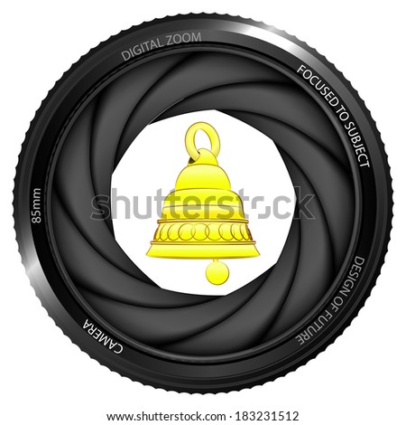 bell alarm in shutter ready to snapshot isolated vector illustration