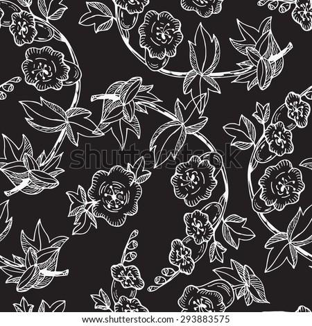 Bell flowers black white background bluebells stock vector 293883575 bell flowers black and white background with bluebells flowers seamless pattern with flowers mightylinksfo