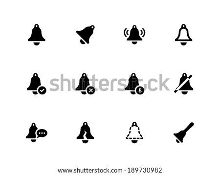 Bell icons on white background. Vector illustration. - stock vector