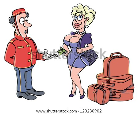 Bellboy & Pretty Client in hotel - vector - stock vector