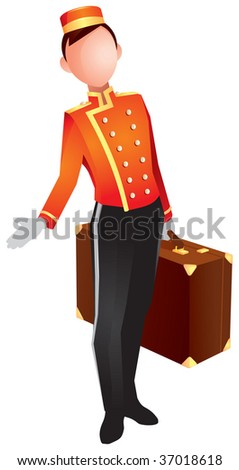 bellhop, also bellboy or bellman, is a hotel porter, who helps patrons with their luggage while checking in or out - stock vector