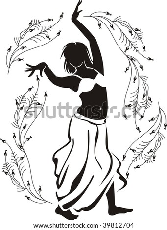 belly dancer - stock vector