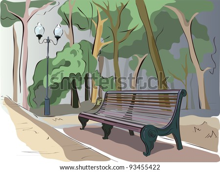 bench is in a park - stock vector