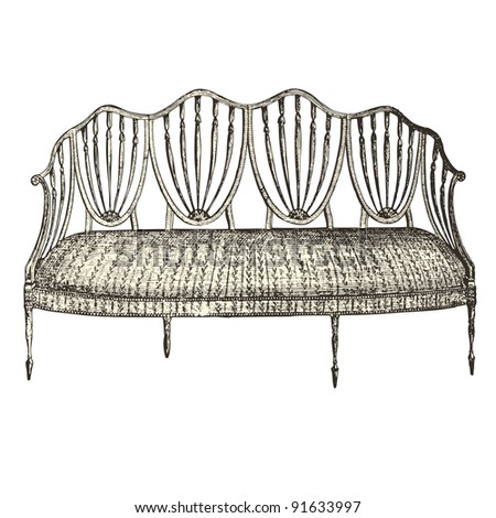 """Bench 18th century style - Vintage engraved illustration - """"Le Mobilier"""" Ed.Edouard Rouveyre  in 1915 France - stock vector"""