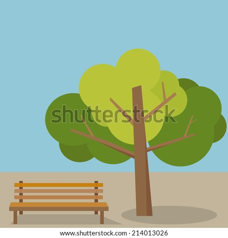 Bench under a tree  - stock vector