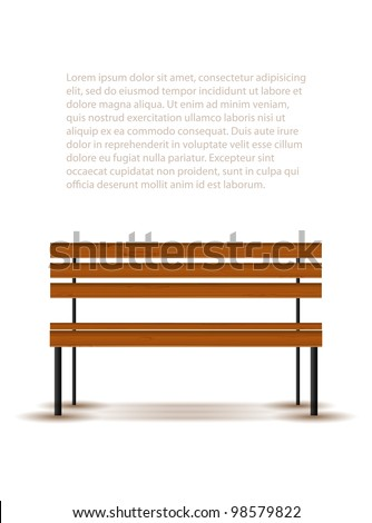 Bench with shadow isolated on white, vector illustration, eps10 - stock vector