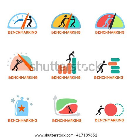 Benchmarking concept logo, vector icon set