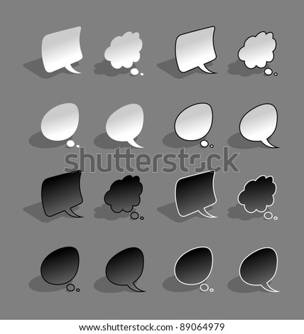 Bended, paper style, black and white speech bubbles with shadow