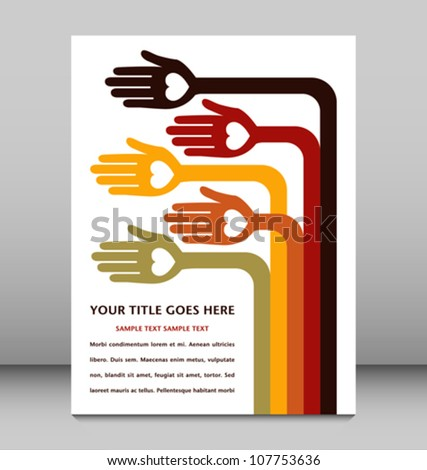 Bendy hand design with text space. - stock vector