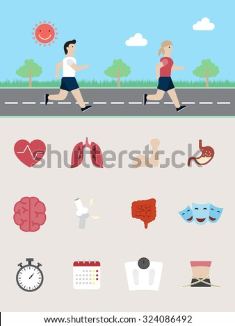 benefits of running - stock vector