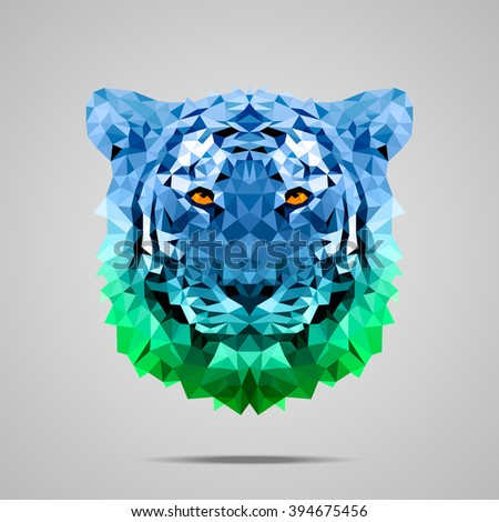 Bengal tiger low poly portrait. Symmetric blue - green gradient. Abstract polygonal illustration. - stock vector