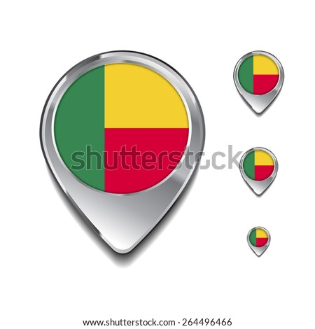 Benin flag map pointer. 3d Map Pointer with flag glossy button style on gray background - stock vector